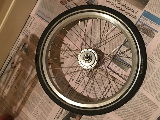 Tube patched and Brompton kevlar tyre back on the wheel